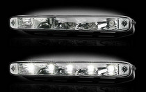 "1985-1991 Buick Skylark Recon LED Daytime Running Lights w White LEDs & Rectangular Shaped Housing aka ""AUDI Style""  - CLEAR LENS"