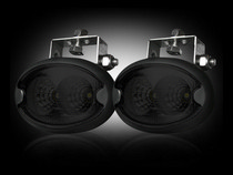 1953-1957 Chevrolet Two-Ten Recon LED Driving Light Kit - Elliptical Oval  - Black Chrome Internal Housing with Clear Lens w/ Black Rubber External Housing