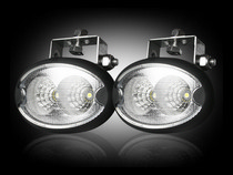 1985-1991 Buick Skylark Recon LED Driving Light Kit - Elliptical Oval - Chrome Internal Housing with Clear Lens w/ Black Rubber External Housing