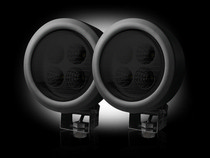 1960-1961 Dodge Dart Recon LED Driving Light Kit - Round Circle - Black Chrome Internal Housing with Clear Lens w/ Black Rubber External Housing