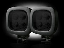 1958-1961 Pontiac Bonneville Recon LED Driving Light Kit - Square - Black Chrome Internal Housing with Clear Lens w/ Black Rubber External Housing