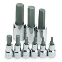 "2005-2010 Scion TC S K Hand Tools 9 Piece 3/8"" and 1/2"" Drive Fractional Socket Hex Bit Set"
