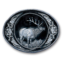 Universal Fitment Siskiyou Belt Buckle - Elk  (Diamond Cut)