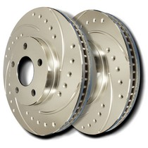 1998-2003 Toyota Sienna SP Performance Brake Rotors - Drilled & Slotted Plated (Front)