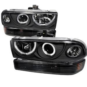 98 04 Chevrolet S10 Combo Projector Headlight Black With Per Light Spec D Headlights
