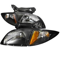 00-02 Chevy Cavalier Spec D Euro Headlights with Corner Lights (Black)