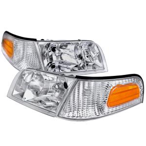 98 11 Ford Crown Victoria Chrome Euro Headlight With Corner Spec D Headlights