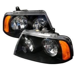 03 05 Lincoln Navigator Crystal Housing Headlights Black Spec D Euro