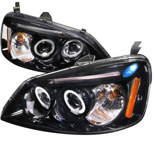 2001-2003 Honda Civic Spec D Dual Halo LED Projector Headlights - Glossy Black with Smoke Lens