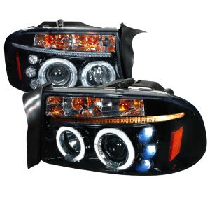 97 04 Dodge Dakota Halo Projector Headlight Gloss Black Housing Smoke Lens Spec D