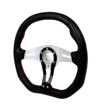 All Jeeps (Universal), All Vehicles (Universal) Spec D Technic Steering Wheel - 350mm (Black/Silver with Red Stitching)