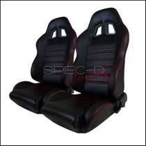 All Classic Muscle Cars (Universal), All Classic Volkswagens (Universal), All Full Size Trucks (Universal), All Jeeps (Universal), All Light Trucks (Universal), All Modern Muscle Cars (Universal), All Sports Compact Cars (Universal), All SUVs (Universal), All Vintage Cars (Universal) Spec D Recaro Style PVC Leather Racing Seats - Black with Red Stripe Stitching