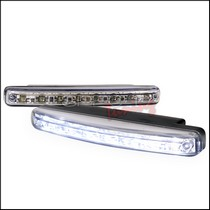 1987-1990 Mercury Tracer Spec D 8-Pieces White LED Day Time Running Lights - Chrome Trim