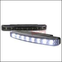 1987-1990 Mercury Tracer Spec D 8-Pieces White LED Day Time Running Lights - Black Trim