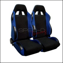 All Classic Muscle Cars (Universal), All Classic Volkswagens (Universal), All Full Size Trucks (Universal), All Jeeps (Universal), All Light Trucks (Universal), All Modern Muscle Cars (Universal), All Sports Compact Cars (Universal), All SUVs (Universal), All Vintage Cars (Universal) Spec D Bride Style Racing Seats - Black/Blue