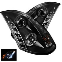 03-07 Infiniti G35 2DR Halogen Model Only (Not Compatible With Xenon/HID Model) Spyder HID-Type DRL LED Projector Headlights - Black