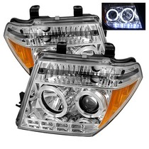 05-07 Nissan Pathfinder, 05-08 Nissan Frontier Spyder Halo LED Projector Headlights - Chrome