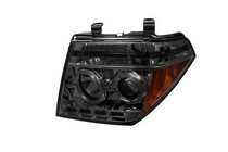 05-07 Nissan Pathfinder, 05-08 Nissan Frontier Spyder Halo LED Projector Headlights - Smoke