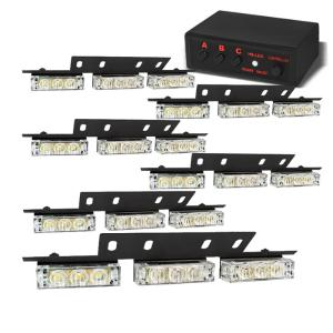 All Cars (Universal), All Jeeps (Universal), All Muscle Cars (Universal), All SUVs (Universal), All Trucks (Universal), All Vans (Universal) Spyder LED Strobe Lights with Control Box - 18-Piece (White)