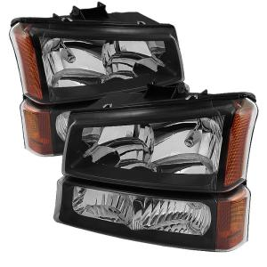 1999-2006 Chevrolet Silverado Spyder Crystal Headlights with Bumper Lights (Black)