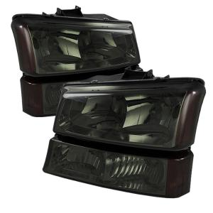 1999-2006 Chevrolet Silverado Spyder Crystal Headlights with Amber Bumper Lights (Smoke)