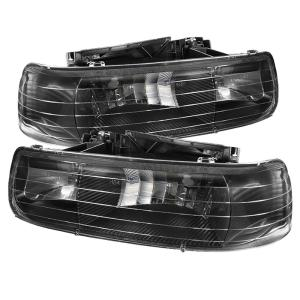 1999-2006 Chevrolet Silverado Spyder Amber Crystal Headlights (Black)