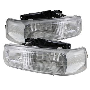 1999-2006 Chevrolet Silverado Spyder Amber Crystal Headlights (Chrome)