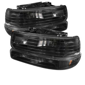 1999-2006 Chevrolet Silverado Spyder Amber Crystal Headlights with Bumper Lights (Black)