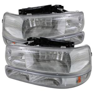 1999-2006 Chevrolet Silverado Spyder Amber Crystal Headlights with Bumper Lights (Chrome)