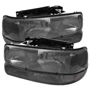 1999-2006 Chevrolet Silverado Spyder Amber Crystal Headlights with Bumper Lights (Smoke)
