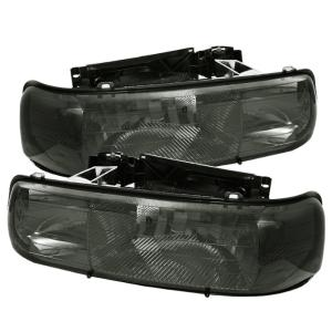 1999-2006 Chevrolet Silverado Spyder Amber Crystal Headlights (Smoke)
