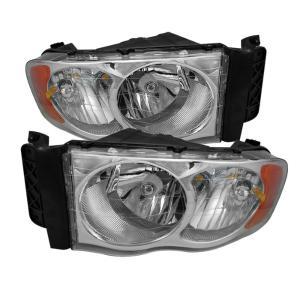 02 05 Dodge Ram Spyder Amber Crystal Headlights Chrome