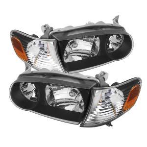 01 02 Toyota Corolla Spyder Crystal Headlights W Amber Corner Lights Black