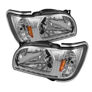 01 04 Toyota Tacoma Spyder Corner Crystal Headlights With Chrome Trim 1 Piece