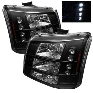 1999-2006 Chevrolet Silverado Spyder LED Crystal Headlights With Bumper Lights - Black (1 Piece)