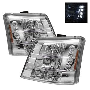1999-2006 Chevrolet Silverado Spyder LED Crystal Headlights With Bumper Lights - Chrome (1 Piece)