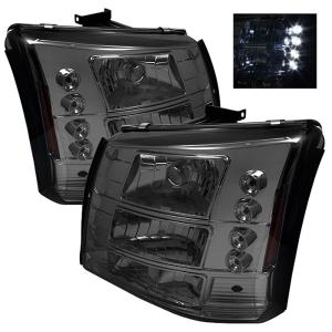 1999-2006 Chevrolet Silverado Spyder LED Crystal Headlights With Bumper Lights - Smoke (1 Piece)