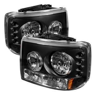 1999-2006 Chevrolet Silverado Spyder Crystal Headlights With Bumper Lights  - Black (1 Piece)