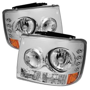 1999-2006 Chevrolet Silverado Spyder Crystal Headlights With Bumper Lights  - Chrome (1 Piece)