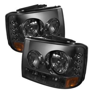 1999-2006 Chevrolet Silverado Spyder 1Pc W/ Bumper Lights (Require GRI-SP-CS99-CT Grille) Crystal Headlights - Smoke