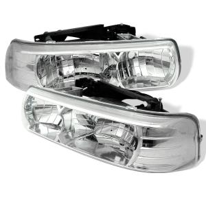 1999-2006 Chevrolet Silverado Spyder Crystal Headlights - Chrome