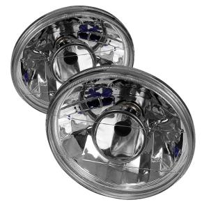 "1998-2004 Lexus Lx470 Spyder Universal Round Projector Lamp 7"" W/ Super White H4 Bulbs - Chrome"