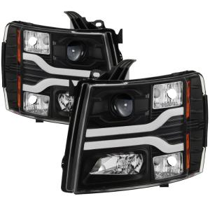 MOSTPLUS Headlight Assembly Compatible for 2003 2004 2005 2006 Chevy Chevrolet Avalanche Silverado 1500 2500 3500-Black Housing Bumper Lights Clear Reflector Set of 2