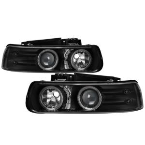 1999-2006 Chevrolet Silverado Spyder Halo LED Projector Headlights - Black