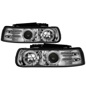 1999-2006 Chevrolet Silverado Spyder Halo LED Projector Headlights - Chrome