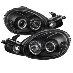 00 02 Dodge Neon Spyder Halo Led Projector Headlights Black