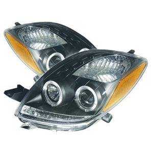 06 08 Toyota Yaris 2dr Spyder Auto Headlights Halo Projectors Black