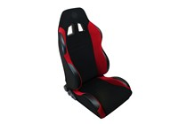 2000-2006 BMW M3 Spyder SP Style Adjustable Racing Seat - Fabric (Black and Red)
