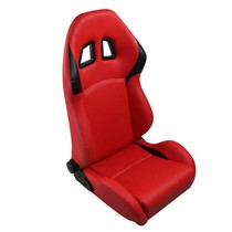 1973-1979 Ford F150 Spyder XM-II Adjustable Racing Seat - PVC (Black and Red)