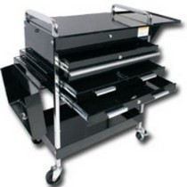 1984-1986 Ford Mustang Sunex Deluxe Service Cart With Locking Top, 4 Drawers and Extra storage - Black